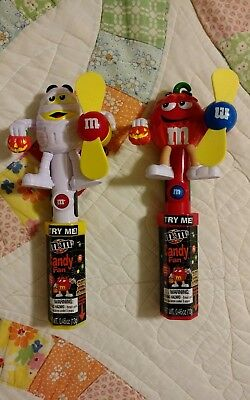 NEW IN PACKAGE! LOT OF 2 MARS M&M CANDIES HALLOWEEN CANDY DISPENSER FANS  (Halloween M&m Dispenser)
