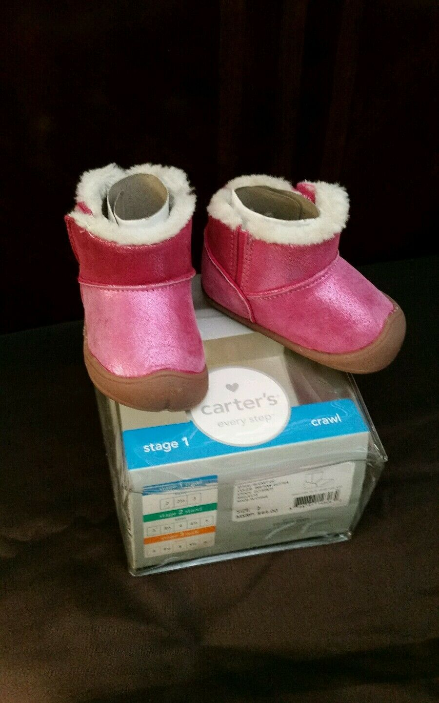 EUC Carter's Every Step Bucket GC Early Walker Boot (Infant) SZ 2 Pink