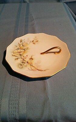 Vintage Signed 1965 Hand Painted Floral Trinket Dish w/ Finger Loop & Gold Trim