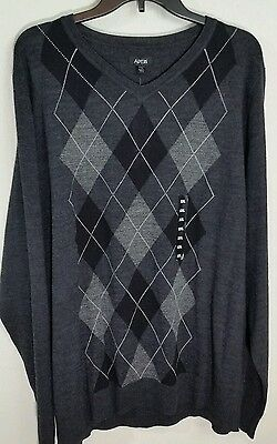 Apt. 9 Modern Fit Argyle Merino V Neck Sweater Dark Gray XXL NWT $56