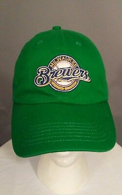 Milwaukee Brewers Rare Green Embroidered Associated Bank Youth Strapback Hat Cap