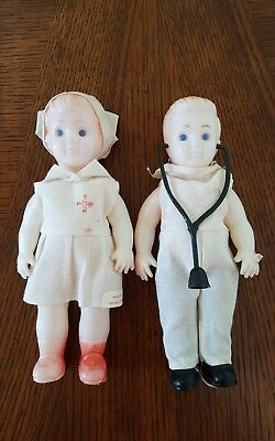 Vintage Plastic Doctor and Nurse Dolls Made in Hong Kong