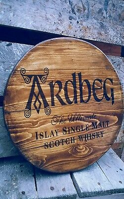 Ardbeg scotch whisky  malt whisky plaque wooden sign  mancave shed bar pub
