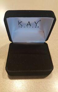 Kay Jewelers Empty Black Velvet Ring Box with Black  Presentation Box New