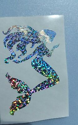Mermaid Vinyl Car Decal Tumbler Cup Mug sticker 3.5 H Holographic glitter Beach