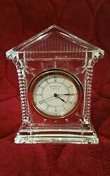 Waterford Cut Crystal Acropolis Clock Mantle Desk Ireland Battery