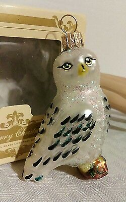 IMPULS CHRISTMAS ORNAMENT SNOW OWL BIRD NEW POLAND MOUTH BLOWN GLASS IN BOX 3""
