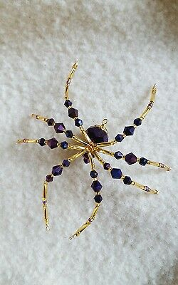 Metallic Purple And Gold Glass Beaded Christmas Spider Ornament German Legend