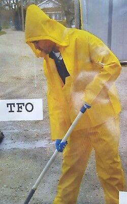 Rain-Suit Safety Yellow Coat Hood Pants 3pc Heavy Duty Gear .35mm Size Large