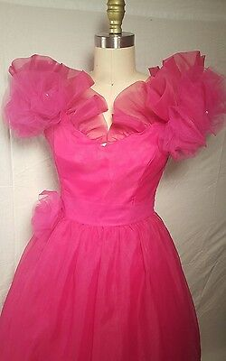 Vintage dress Neiman Marcus Hot Pink prom party dress long chiffon/sheer S small