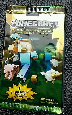 Minecraft, collectable Stickers-cards 3 stickers per pack sealed