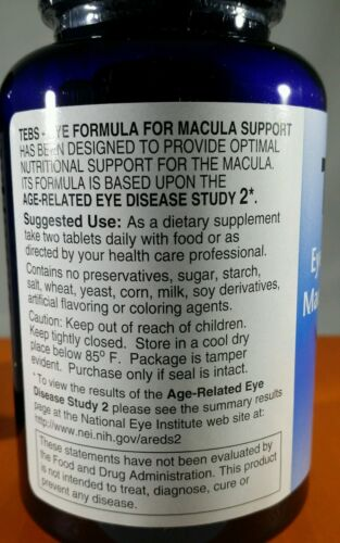 2 Bottles TEBS Macular Degenaration Support Eye Vitamins AREDS 2- 6 Month Supply 2