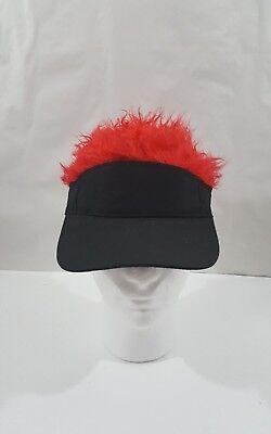 Fuzzy Hair Visors Cap/Hat Black/Red Hair Visor - Hair Visors