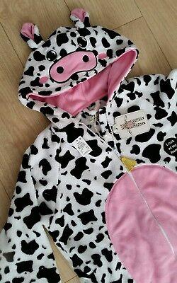PRIMARK COW FLEECE ONE SI PYJAMAS ROMPER SLEEPSUIT FANCY DRESS UP S 6 8 *NEW*
