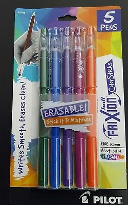 PILOT FRIXION BALL COLOR STICKS~ERASABLE ASSORTED INK GEL PENS~FINE 0.7MM ~NEW