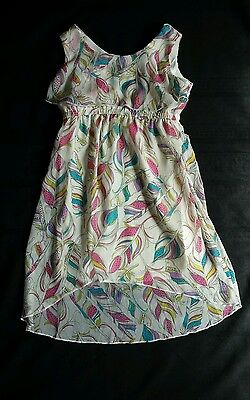 Children's Place Feather Dress Polyester, Lined, XS 4 Cream Pink Purple Blue.... (Feather Place)