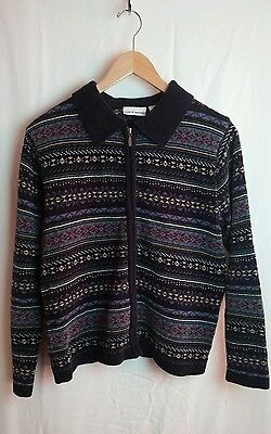 Croft & Barrow Womans Classic  Zip Front Sweater Size M Cardigan Knit Pattern (Classic Zip Front Sweater)