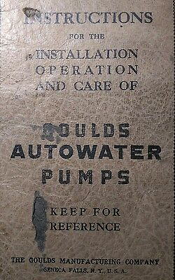Goulds Autowater Pumps Operators Parts Service Manual 36pg Irrigation Water