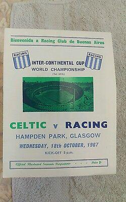 Celtic v racing club programme.1967 world club championship.
