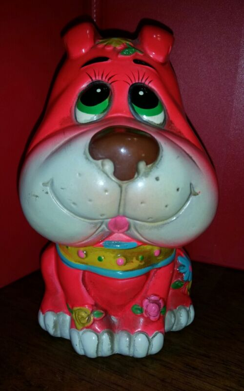 """VERY RARE 1969 Holiday Fair PINK Dog Puppy Bank Used 6 1/2 """" TALL"""