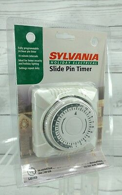 Sylvania 2 outlet daily timer set it and forget it indoor use slide pin 15A
