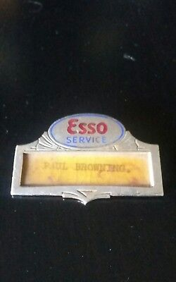 Esso Service Filling Station Paul Browning Attendant Enameled Name Tag Badge