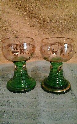 (2)Wine Glasses: Etched Grape Design; Shamrock Green-Stemmed;Gold Edging4 3/4