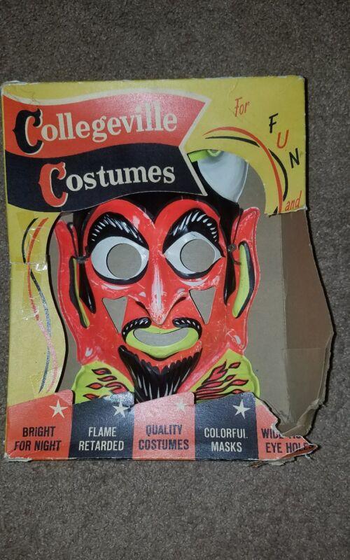 Glow Halloween Mask Demon Devil Collegeville Ben Cooper Vintage Box Horror