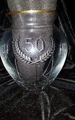Lead Crystal Vase Art Cut Glass Gold Trim Signed Strobach 50th Anniversary Bday](Bday Signs)