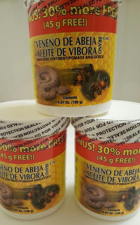 3 JARS Veneno de Abeja Aceite de Vibora Analgesic Ointment 6.8 oz New Item 150g