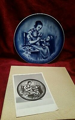 DRESDEN GERMANY-BAREUTHER WALDSASSEN 1970 MOTHERS DAY PLATE BLUE