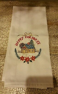 Design Cottage Happy Holidays Decorative Christmas Kitchen Tea Towel NWOT