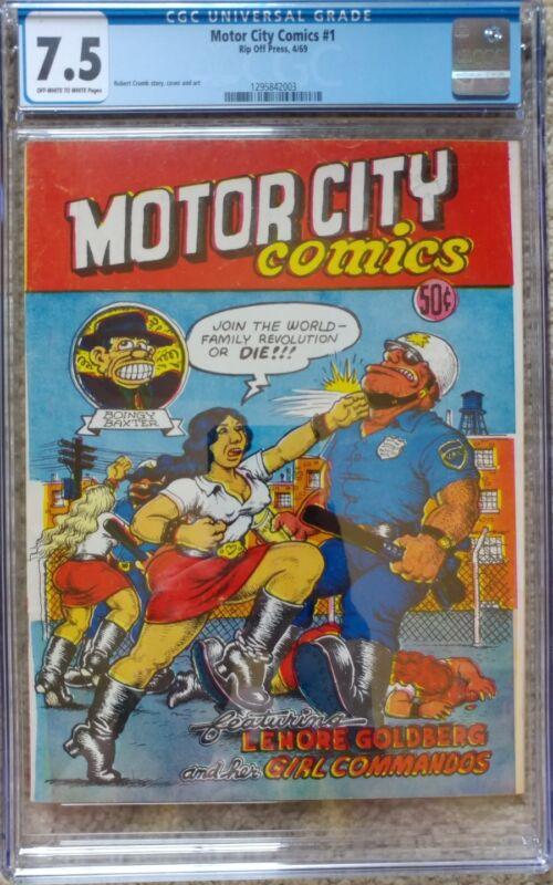 MOTOR CITY COMICS #1 1ST PRINT CGC 7.5 VF- RIP OFF PRESS 4/1969