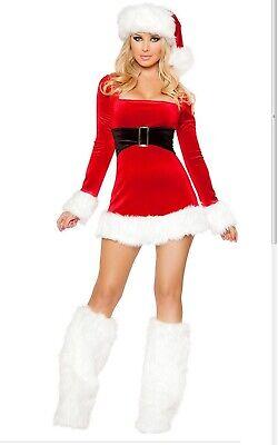 Sexy Costume Babba Babbo Natale Donna Travestimento Con Cappello E Scaldamuscoli