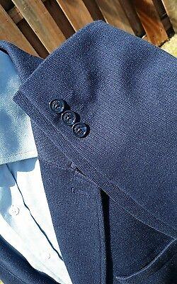 48L 2XL Indigo Blue Tweed Knit Cardigan Jacket Blazer Sport Coat Stretch Cotton