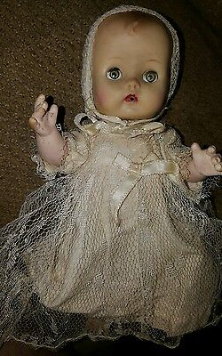 Vintage 1950 Vogue~CLONE~Doll Baby Ginnette? Rubber sleepy Eyes CHRISTEN DRESS