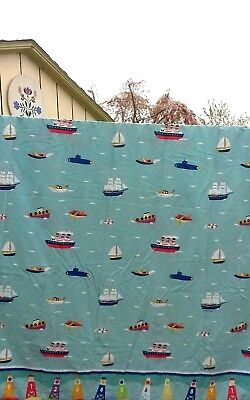 - Dan River Olive Kids Percale Twin Flat Sheet Ocean  Boats Ships Tugs Subs Buoys