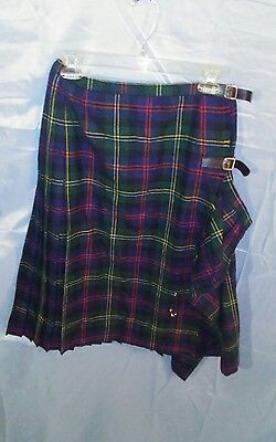 VTG Scottish Irish Tartan Green/Blue Plaid Pleated Wool Made In England Jacobson