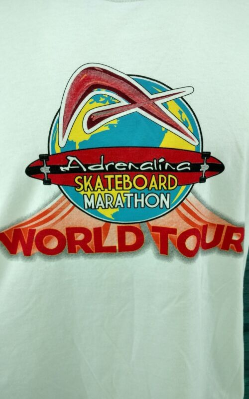 Adrenalina Skateboard Marathon World Tour 2011 White Large Shirt L