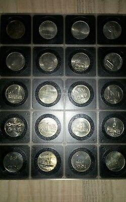 5 DDR Mark Sammlung , 20 verschiedene , 1969-1989 in DDR Kassette, unzirkuliert,