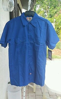 Dickies Work Shirt Men's Dark Blue Extra Long Tail Easy Care M/L (Extra Long Work Shirt)