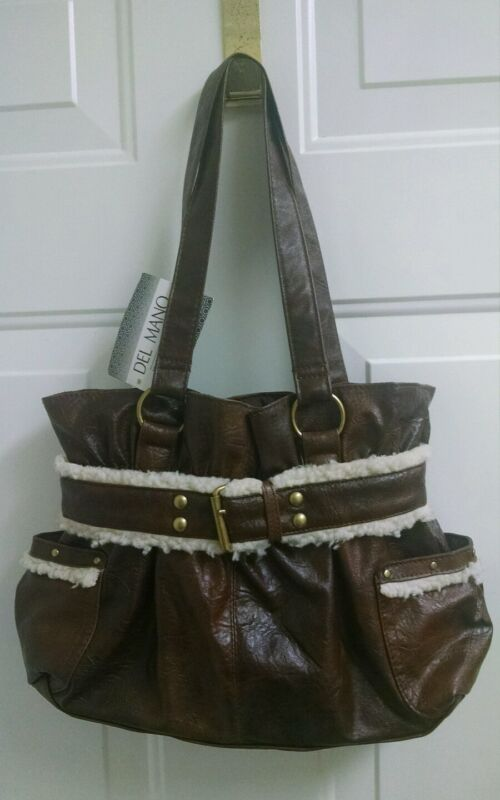 Del Mano Small Tote Bag Purse Handbag Brown NEW