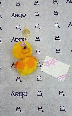 (Vintage Miniature Chick Bunny Easter Plush Stuffed Animal Window Cling with tag )