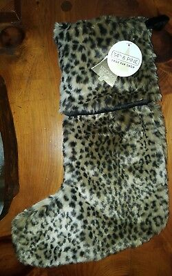 "34th & Pine Luxury Home Faux Fur LEOPARD Animal PRINT 22"" Stocking Brown/Black"