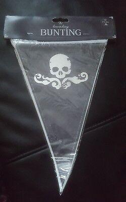 Halloween Bunting Skull&Cross Bone Decoration Accessory 12flag 8meterfree uk p&p (Halloween Bunting Uk)