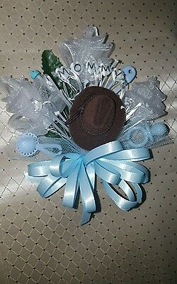 Western Baby shower corsage cowgirl or cowboy hat and boots pink or - Western Baby Shower