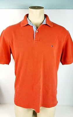 Vintage Tommy Hilfiger Short Sleeve Polo Shirt Orange Casual Mens Sz Large SALE