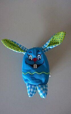 Tasche Kopf Hase blau für Kleinkind kleines Täschchen Reißverschluss Oster Hase