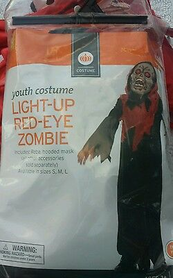 BLOOD RED EYE ZOMBIE GHOUL COSTUME BOYS Small 4-6 ROBE MASK LIGHT UP HALLOWEEN](Eye Blood Halloween)