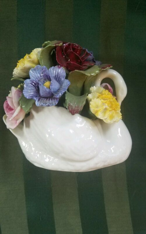Vintage Aynsley Bone China Swan From England with Hand Painted Flowers
